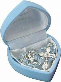 Boy's My First Rosary Glass Beads Blue Children's Christening Gift